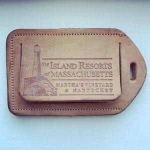 Vintage leather Massachusetts Islands luggage tag